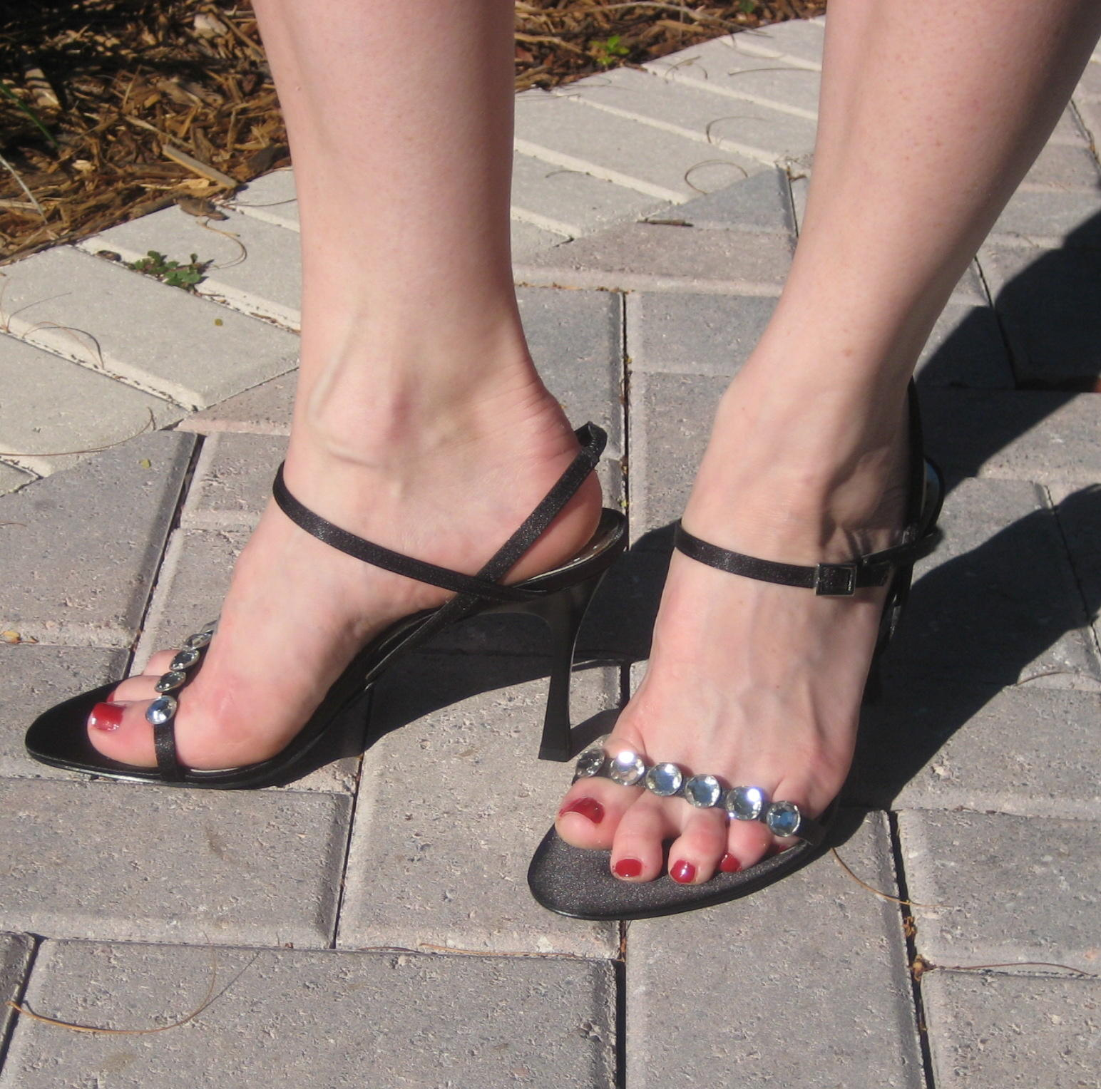 Mature feet in sandals